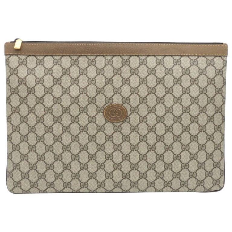 Gucci Monogram GG Men's Portfolio Travel iPad Laptop Travel Envelope Clutch Bag For Sale