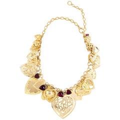80s Patrick Kelly Goldtone Heart Charm Necklace.
