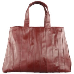 REED KRAKOFF Burgundy Pleated Leather Top Handle Tote Handbag