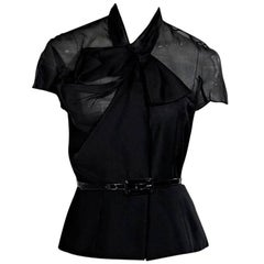 Black Christian Dior Wool/Silk Belted Top
