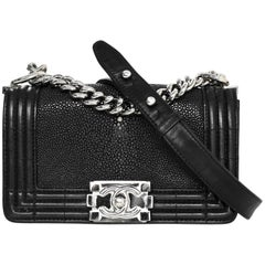 Chanel Black Stingray & Leather  Small Boy Crossbody Bag