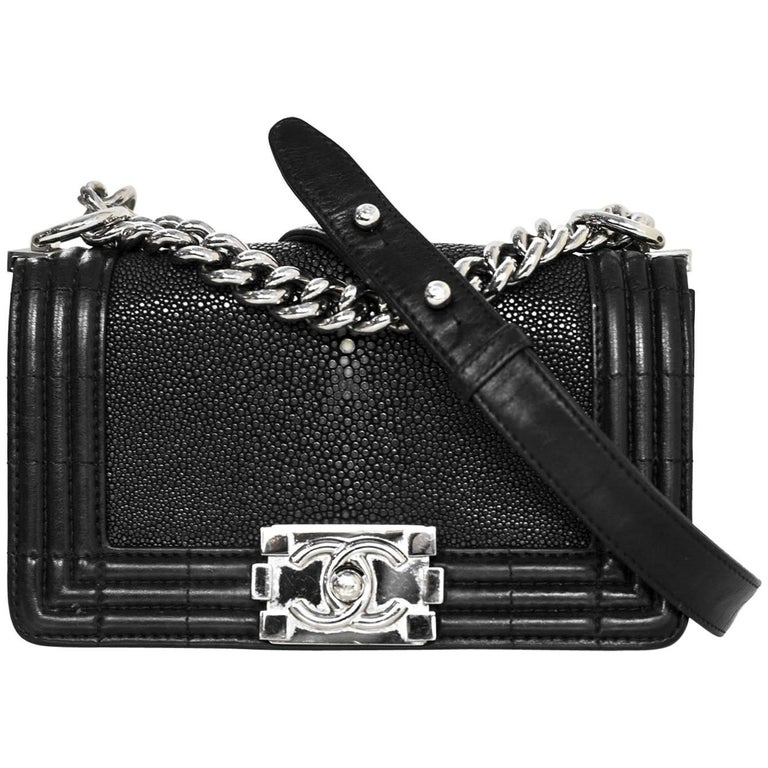 2bec7b48f821 Chanel Black Stingray and Leather Small Boy Crossbody Bag For Sale ...