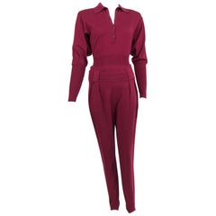 Azedine Alaia 1980s Burgundy Wool Knit Body Suit and Stirrup Trousers