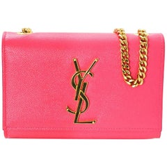 Saint Laurent Pink Grain De Poudre Leather Small Monogram Kate Crossbody Bag