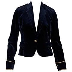 Navy Blue & Gold Ralph Lauren Velvet Blazer