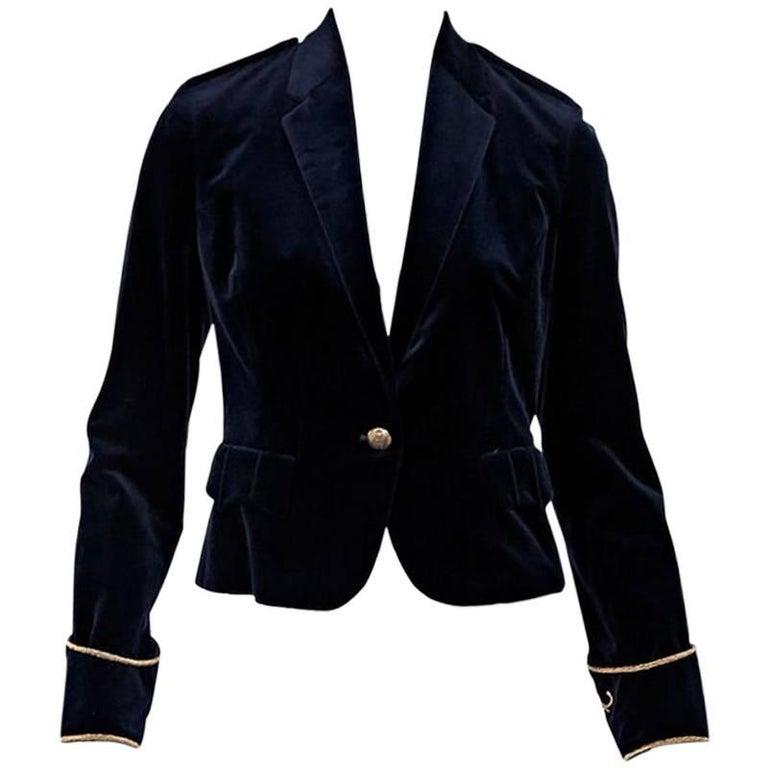 Navy Blue & Gold Ralph Lauren Velvet Blazer For Sale