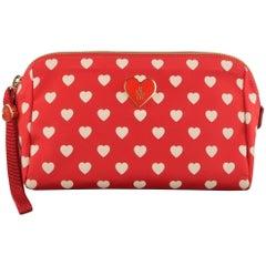MONCLER Red & White Heart Print Nylon Enamel Cosmetic Bag