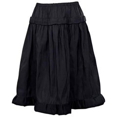 Black Lanvin Silk A-Line Skirt