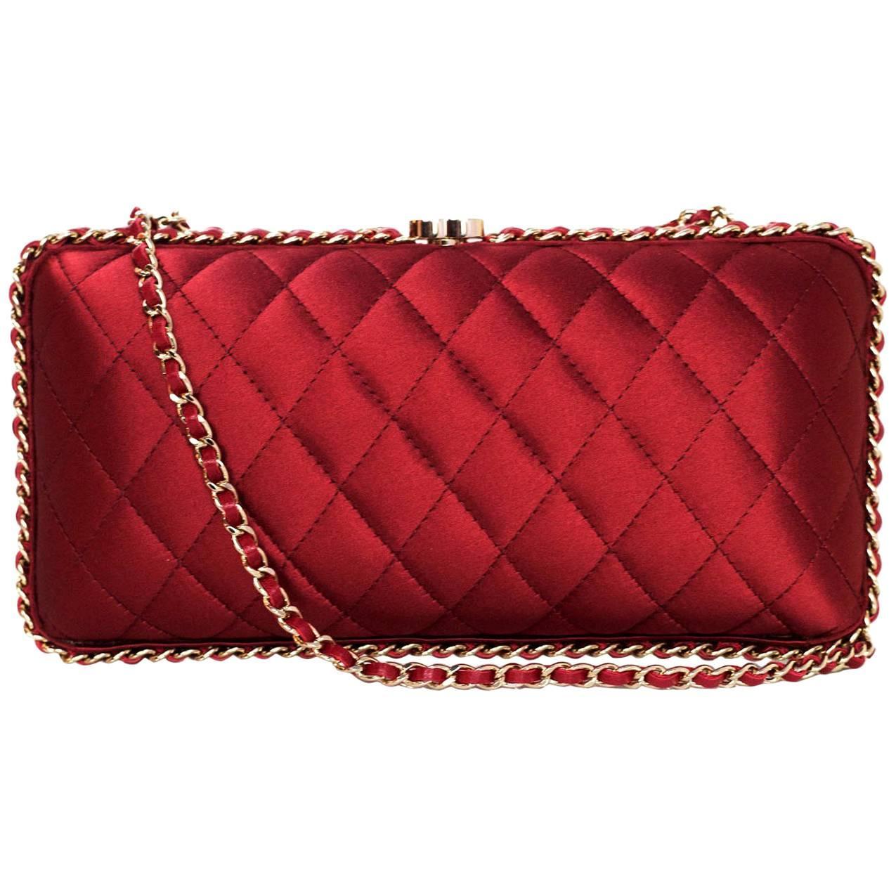 Prada Red Tassel Cord Kisslock Party 2 In 1 Clutch Evening Shoulder Bag In Box PGg86
