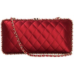 Chanel Rust Red Quilted Satin Chain Around Box Clutch/ Evening Crossbody Bag
