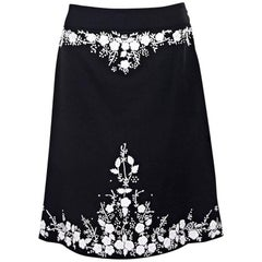 Black & White Alexander McQueen Embroidered Skirt