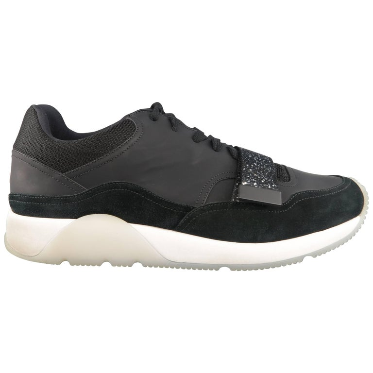 Men's DIOR HOMME Size 12 Black Rubberized Leather & Suede Velco Strap Sneakers