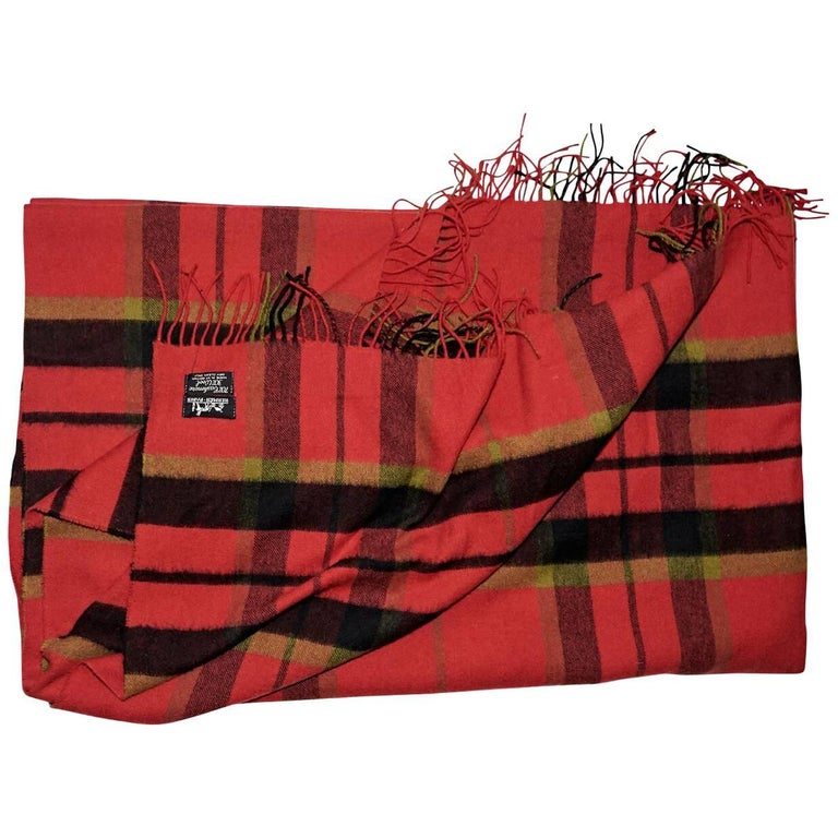 Red Vintage Hermes Plaid Blanket