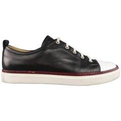 HERMES Size 8 Black & White Leather Burgundy Stripe Sneakers