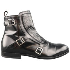 Men's ALEXANDER MCQUEEN Size 9 Black Studded Leather Monk Strap Boots