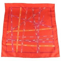 HERMES Red Bolduc Ribbon Print Silk Pocket Square