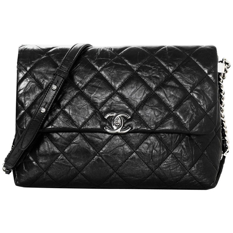 Chanel 2017 Black Quilted Distressed Calfskin Big Bang Flap Bag w. Receipt For Sale