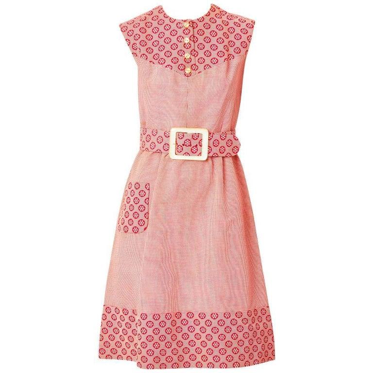 Valentino Mixed Patterns Day Dress C. 1970's