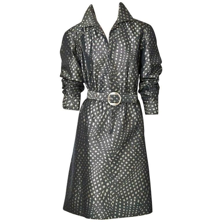 Galanos Belted Shirt Waist Dress