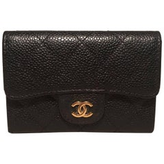 Chanel Black Quilted Caviar Mini Wallet