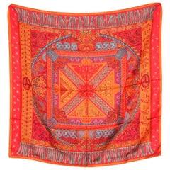 Classic Orange Hermes Silk Scarf