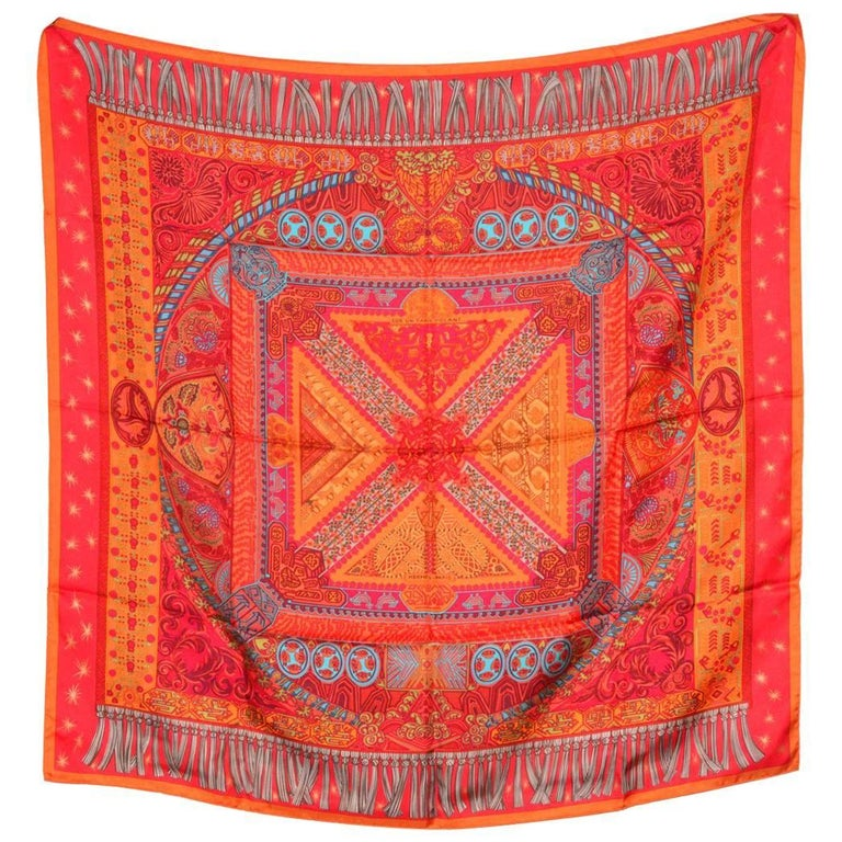Classic Orange Hermes Silk Scarf For Sale