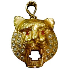 10k Gold Jeweled Tiger Pendant wt 8.9 grams