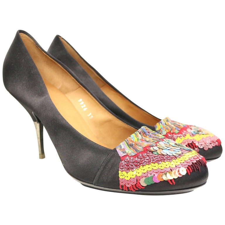 Dries Van Noten Black Silk with colours sequins Pumps