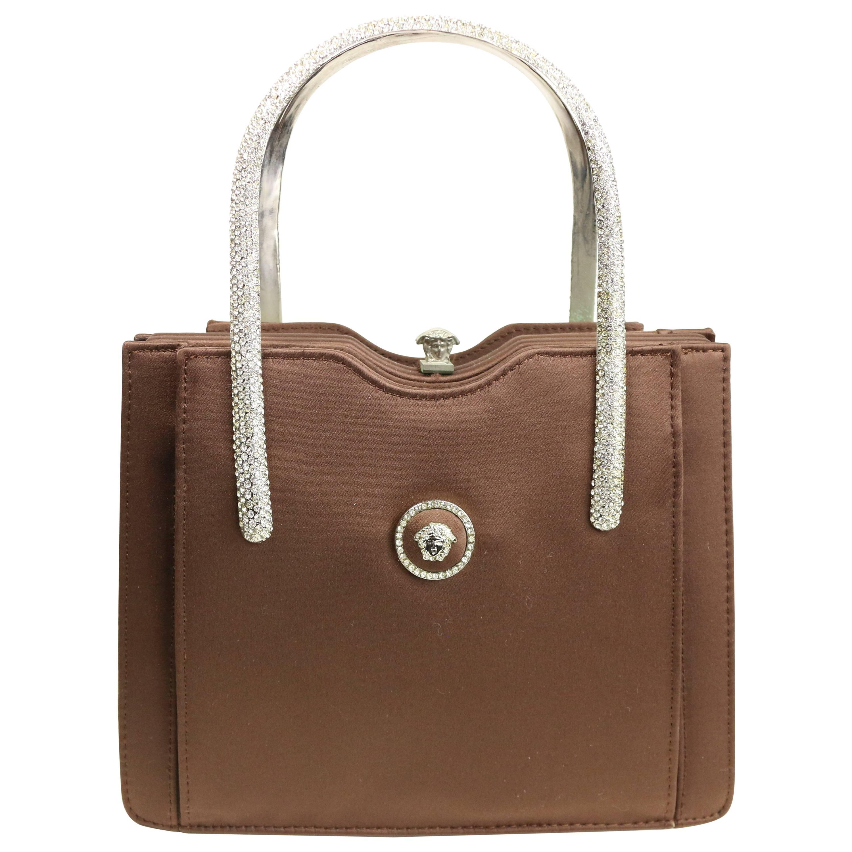 Versace Couture Brown Satin Rhinestones Medusa Handbag tBkaOGRgu