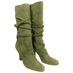 YSL Green Suede Lace Up Boots