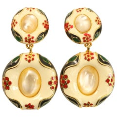 Moschino White Round Gold Toned Setting Drop Clip On Earrings