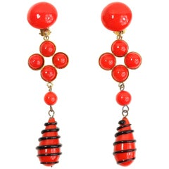 Moschino Red Stone Drop Clip On Earrings