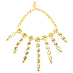 Escada Gold Toned Setting Rhinestones Statement Necklace