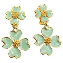 Christian Lacroix Gold Toned Green Clovers Clip On Earrings