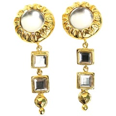 Escada Gold Toned Setting Rhinestones Clip On Earrings