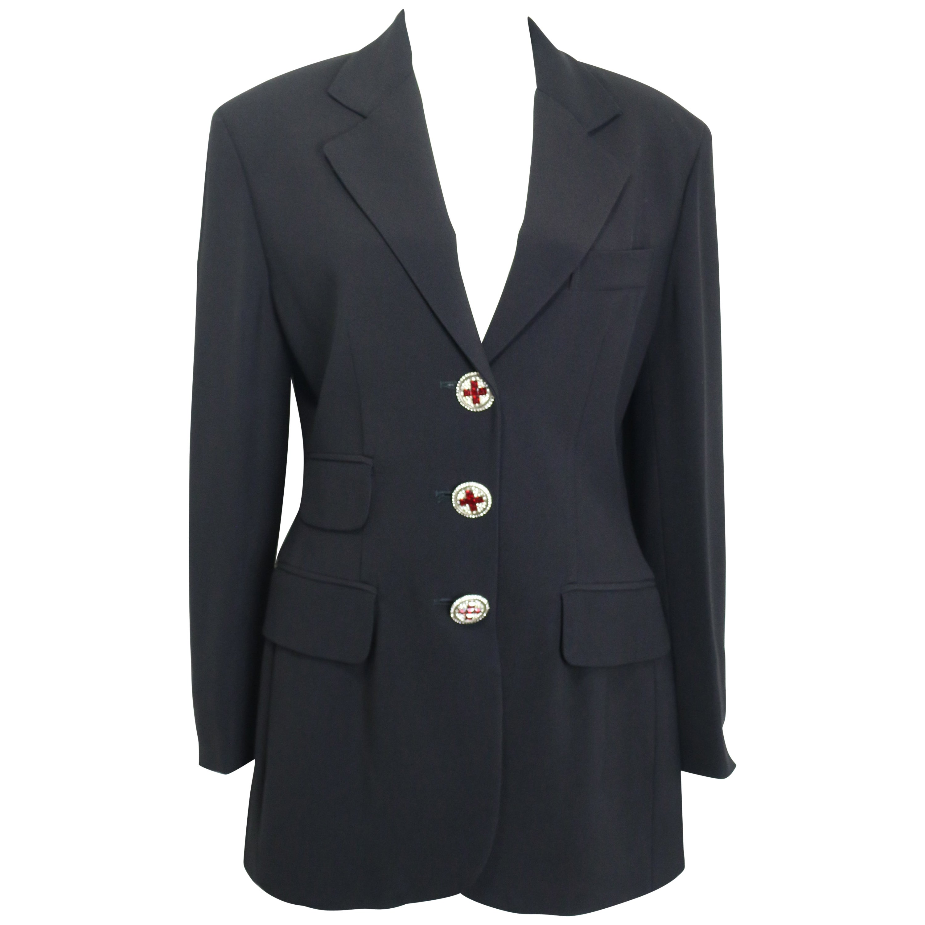 Moschino Couture Black Blazer with Red Cross Crystal Rhinestones buttons
