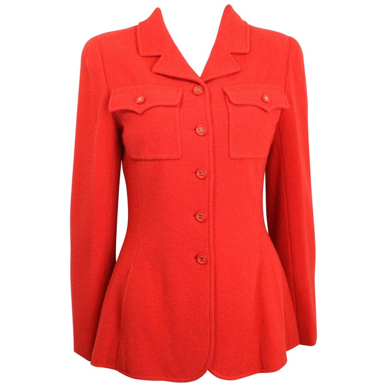 Chanel Red Wool Jacket  For Sale