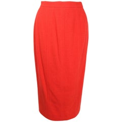 Chanel Red Boucle Wool Pencil Skirt