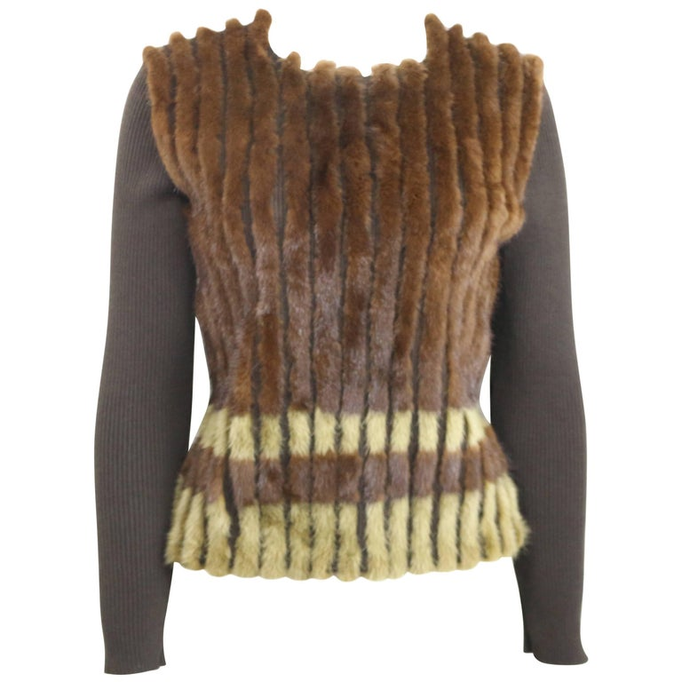 Prada Brown Wool Knitted with Fur Dyed Mink Top