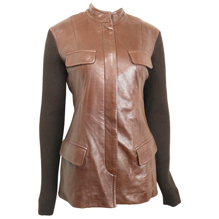 Unworn Donna Karen Brown Bi Fabric Leather and Knitted Wool Sleeves Jacket  For Sale