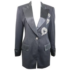 Unworn 80s Escada Grey Wool with Sequins Hearts Blazer