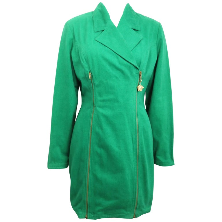Gianni Versace Jeans Couture Green Double Breasted Long Zip Jacket