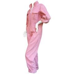 Diane von Furstenberg Vintage Pink Corduroy Jumpsuit c 1980s
