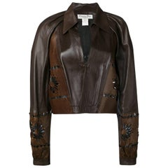 Christian Dior Brown Lamb Leather Cut Out Jacket