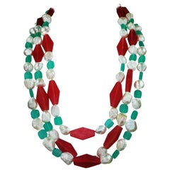 Pearls and Pink and Turquoise Cruise/Summer Necklace