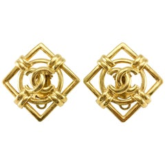 1992 Chanel Gilt Lozenge Logo Earrings