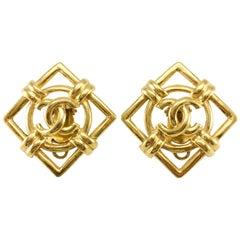 1992 Chanel Gilt Lozenge Logo Earrings