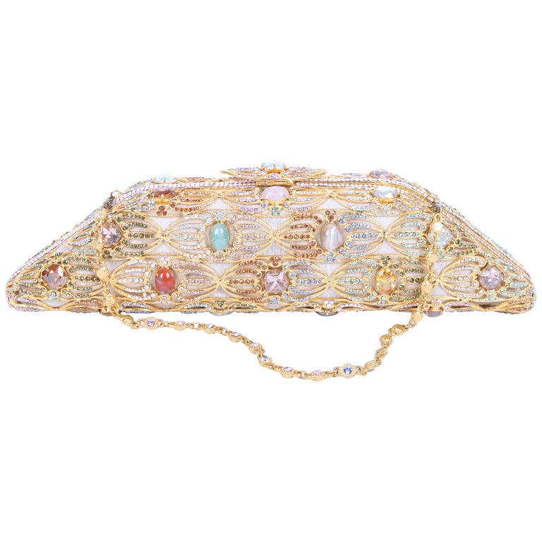 Edidi Crystal and Rhinestone Mesh Clutch - gold/multi-color