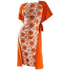 1950s Demi Couture Orange + Ivory White Vintage 50s Wiggle Dress and Jacket Set