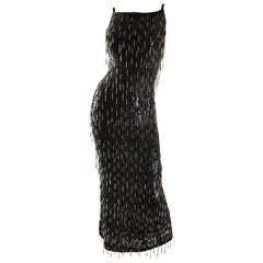 Escada Couture 1990s Black and Gold Fully Beaded Fringe Sequin Vintage 90s Gown